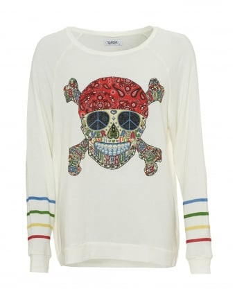 Womens Aggie Cream Sweatshirt, Sugar Skull Multicolour Top