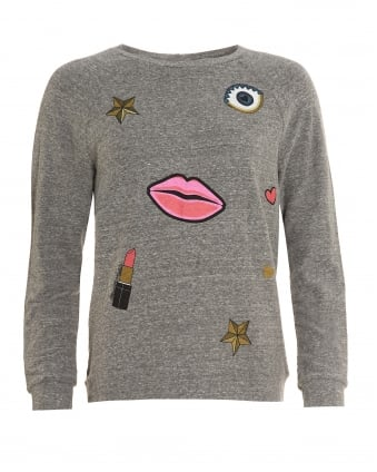 Womens Aggie Sweatshirt, Grey All Over Glam Graphic Jumper