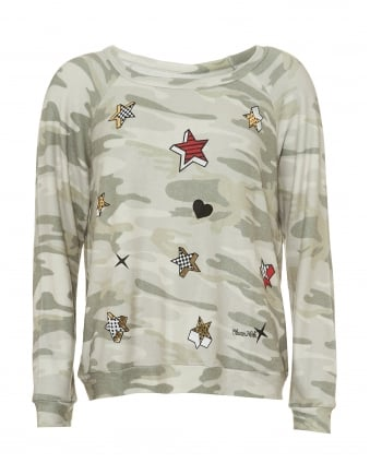 Womens Brenna Camo Sweatshirt, Heart & Stars Pop Print Jumper