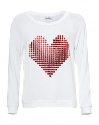 Womens Brenna White Sweatshirt, Red Stud Heart Print Top