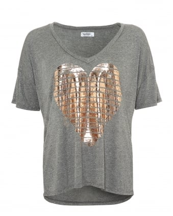 Womens Brixton Heather Grey T-Shirt, Foil Gold Heart Tee