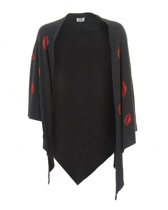 Lauren Moshi Womens Etty Blanket Wrap, Charcoal Red Lip Print Shawl
