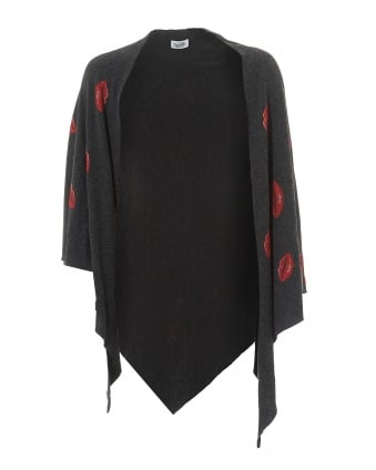Womens Etty Blanket Wrap, Charcoal Red Lip Print Shawl