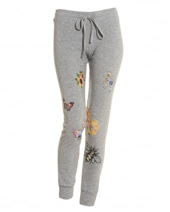 Womens Kizzy Grey Trackpants, Flower Graphic Print Sweatpants