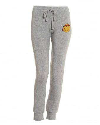 Womens Kizzy Trackpants, Grey Smiley Face Motif Sweatpants