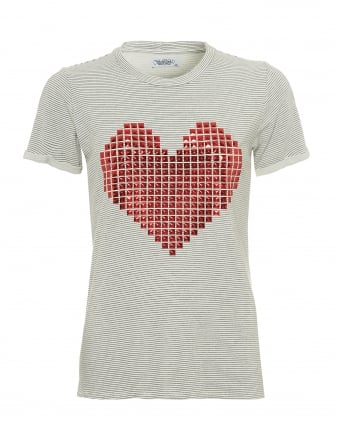 Womens Limp Charcoal Grey T-Shirt, Red Stud Heart Stripe Tee