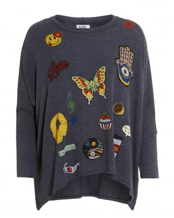 Womens Mira Sweatshirt, Oversized Navy Fun Graphic Motif Jumper