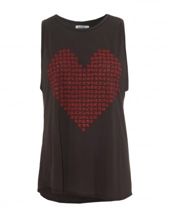 Womens Peyton Black Tank, High Neck Red Heart Print Vest Top