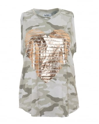 Womens Peyton Green Camo Tank, Gold Foil Heart Vest Top