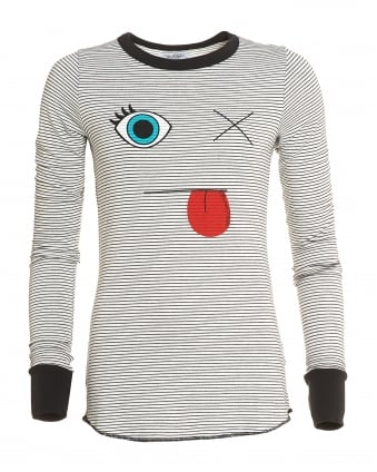 Womens Robin Top, Long Sleeved Striped Face Tee