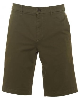 Liem2-1-W Mens Shorts Olive Green Slim Fit Cotton Blend Short