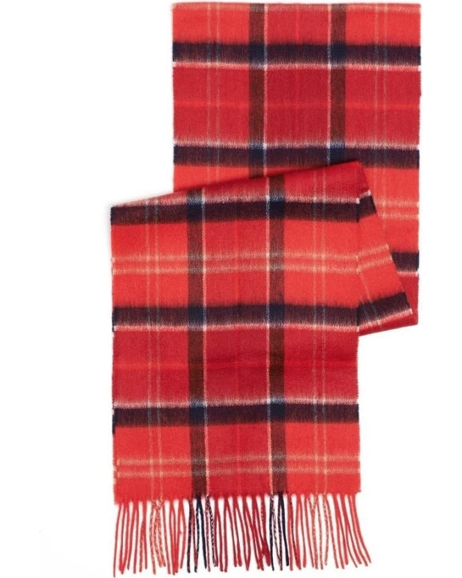 Barbour Lifestyle, Red Merino Wool And Cashmere Tartan Scarf
