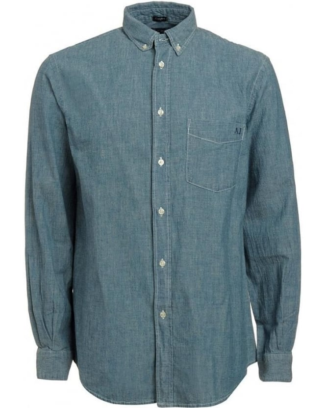 Armani Jeans Light Blue Denim Chambray Comfort Fit Shirt