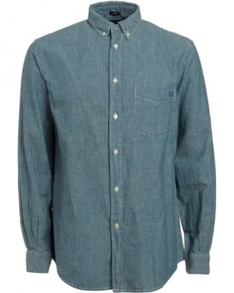 Light Blue Denim Chambray Comfort Fit Shirt