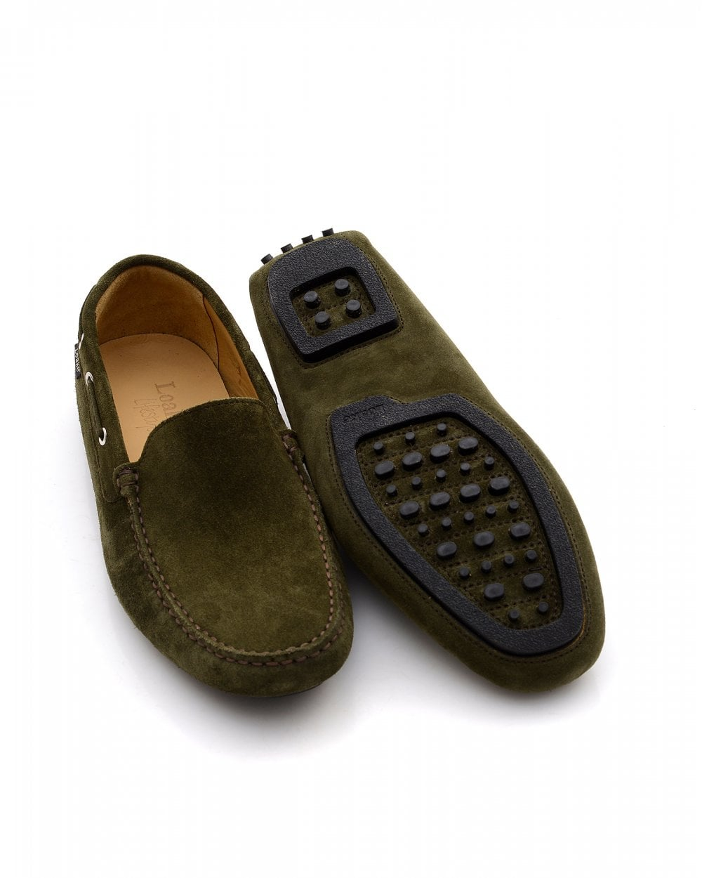 8ceac273 Loake Mens Donnington Loafers, Green Suede Driving Shoes