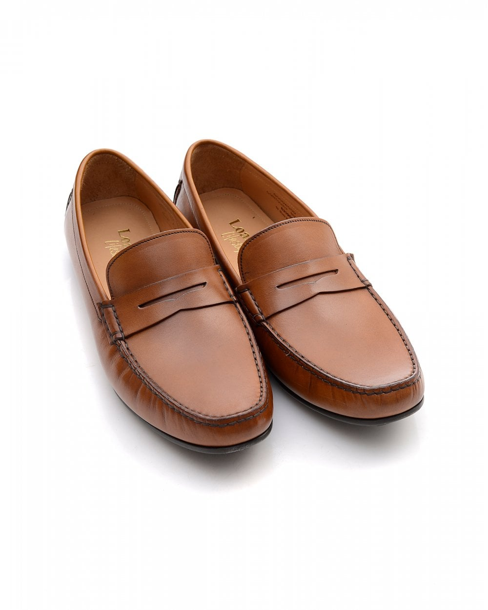 new images of exclusive range cheapest Loake Mens Goodwood Shoes, Tan Brown Leather Penny Loafers