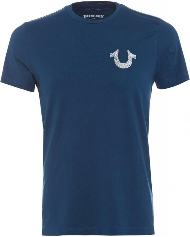 True Religion Jeans Logo Back Print Tee, Blue Horseshoe T-Shirt