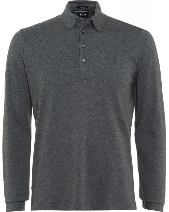 Hugo Boss Black Long Sleeve Polo Shirt, Grey Regular Fit Paderna 30 Polo