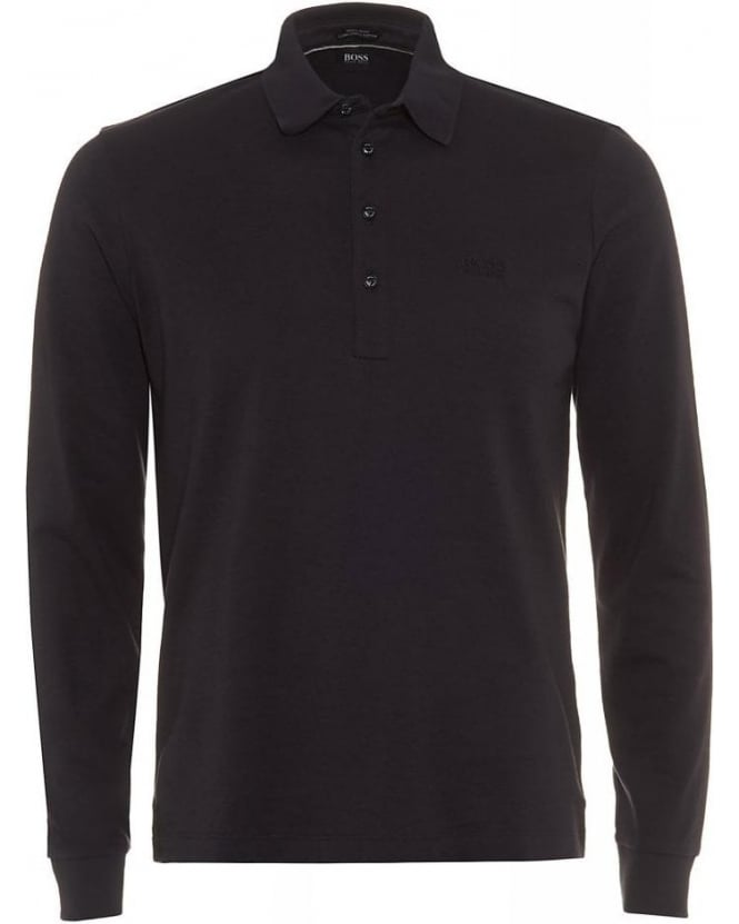 Hugo Boss Black Long Sleeve Polo Shirt, Navy Blue Regular Fit Paderna 30 Polo