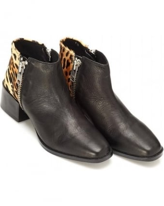 Louie Boot Black Leopard Leather Boots