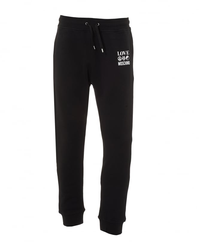 Love Moschino Mens 3 Logo Sign Trackpants, Cuffed Black Sweatpants