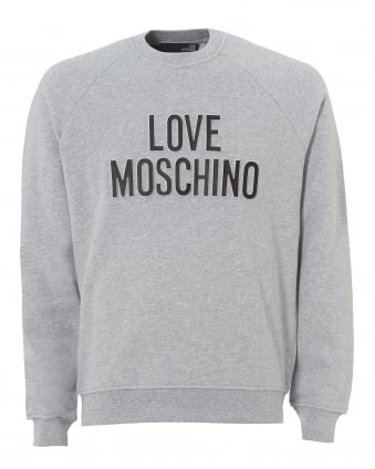 Mens Applique Logo Sweatshirt, Regular Fit Grey Jumper