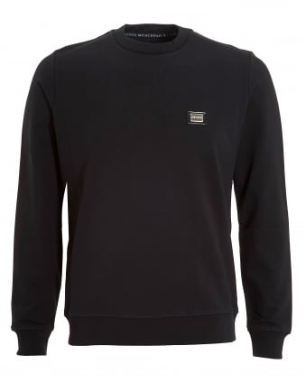 Mens Basic Sweatshirt, Metallic Chest Logo Black Jumper