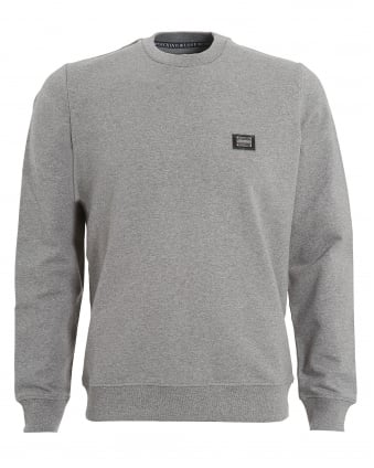 Mens Basic Sweatshirt, Metallic Chest Logo Grey Jumper