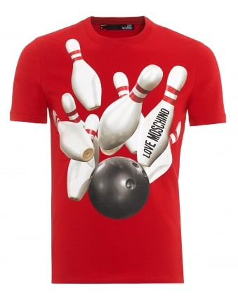 Mens Bowling T-Shirt, Slim Fit Red Tee