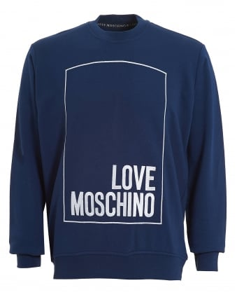 Mens Box Logo Sweatshirt, Regular Fit Navy Blue Jumper