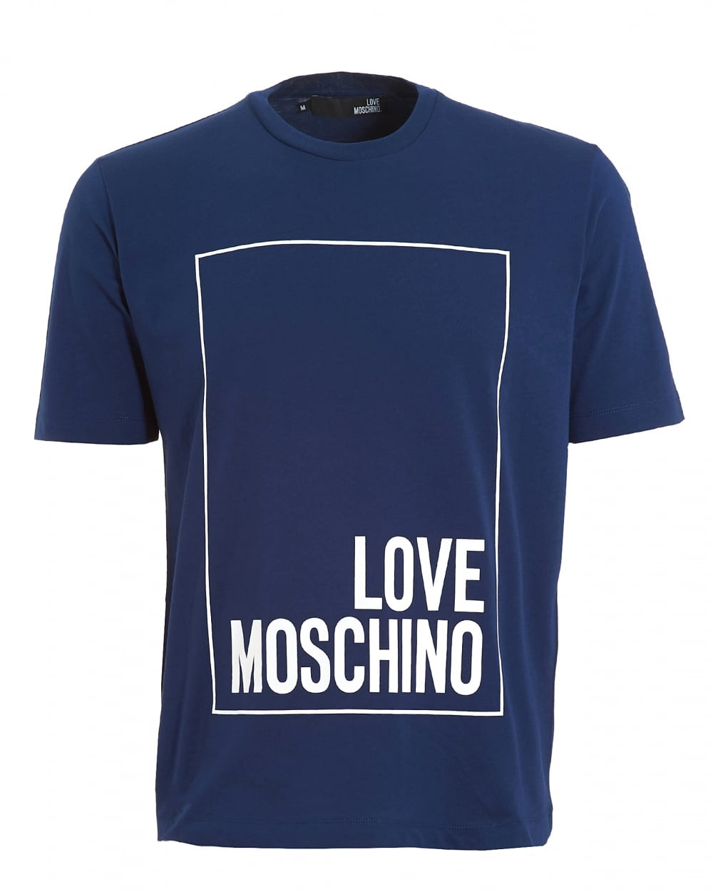 love moschino mens box logo t shirt regular fit blue tee. Black Bedroom Furniture Sets. Home Design Ideas