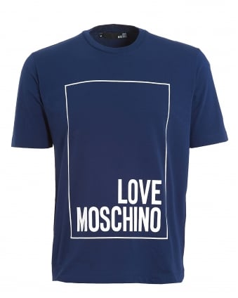 Mens Box Logo T-shirt, Regular Fit Blue Tee