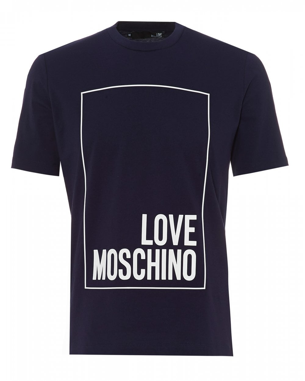 e1bab242ffbad Love Moschino Mens Box Logo T-Shirt, Regular Fit Navy Blue Tee