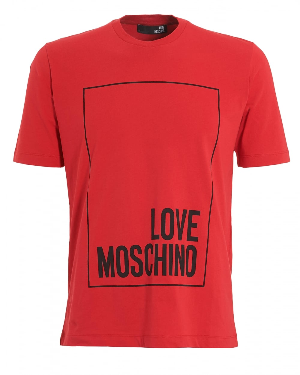 Love moschino mens box logo t shirt regular fit red tee for The red t shirt company