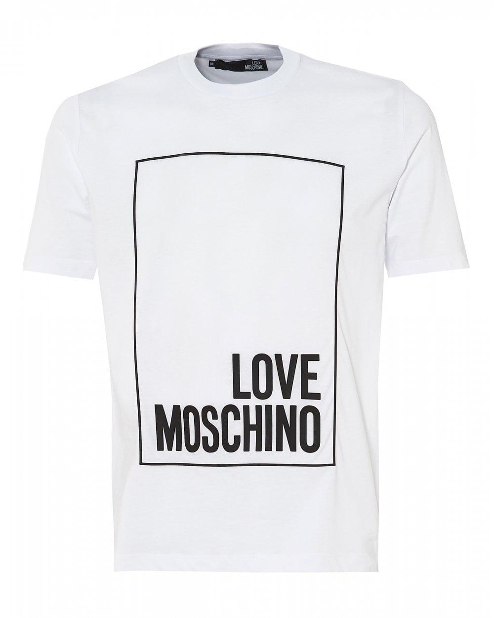 90770939f36 Love Moschino Mens Box Logo T-Shirt, Regular Fit White Tee