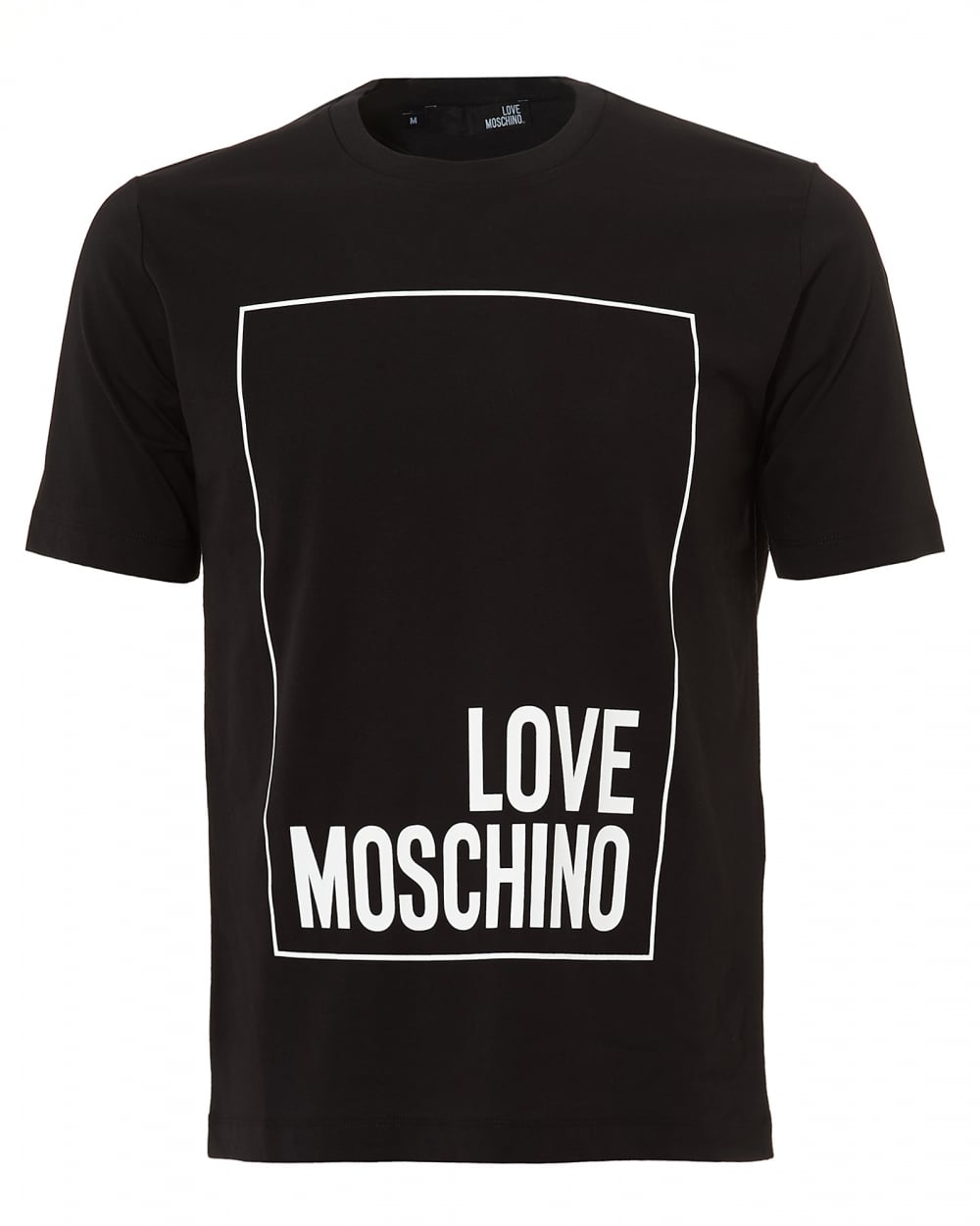 love moschino mens boxed logo t shirt regular fit black tee. Black Bedroom Furniture Sets. Home Design Ideas