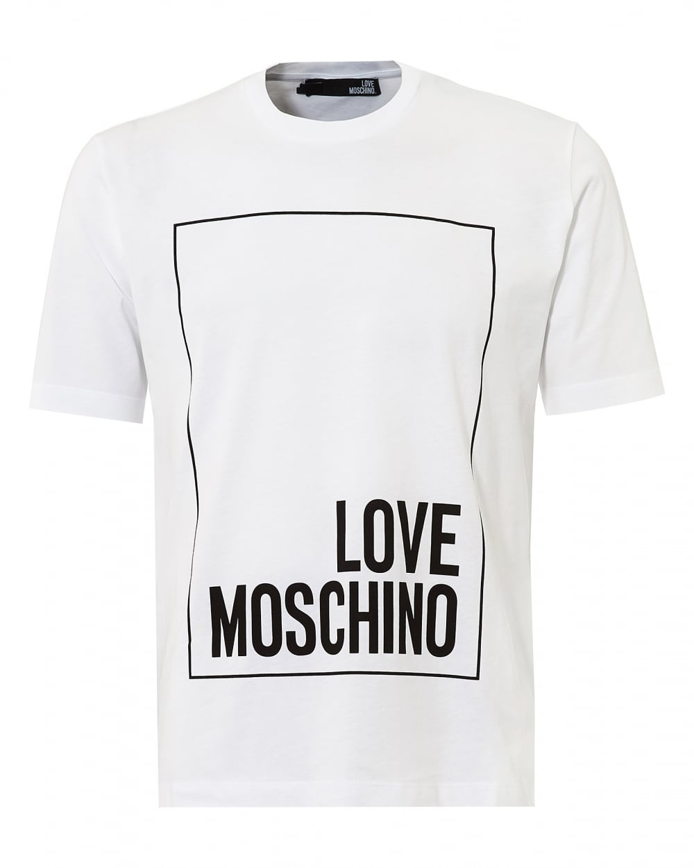 love moschino mens boxed logo t shirt regular fit white tee. Black Bedroom Furniture Sets. Home Design Ideas