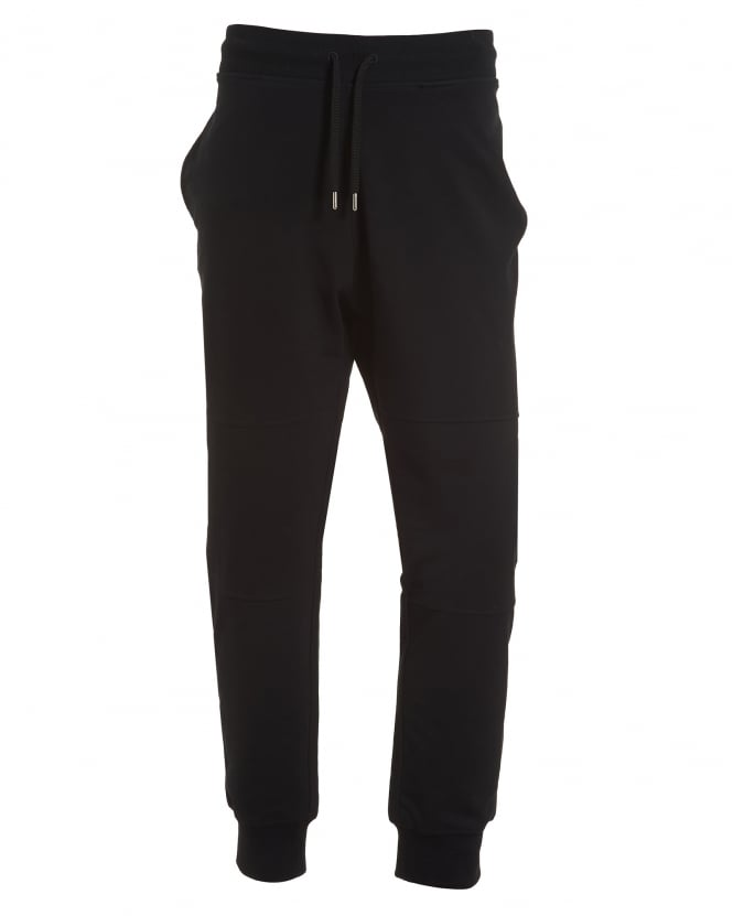 Love Moschino Mens Cuff Trackpants, Back Pocket Badge Black Sweatpants