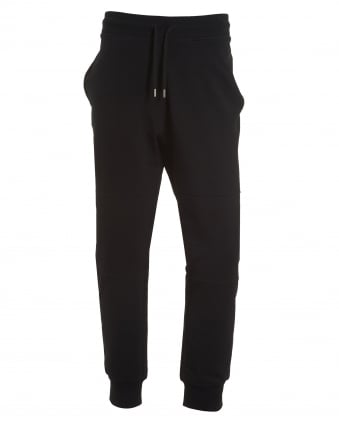 Mens Cuff Trackpants, Back Pocket Badge Black Sweatpants