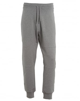 Mens Cuff Trackpants, Back Pocket Badge Grey Sweatpants