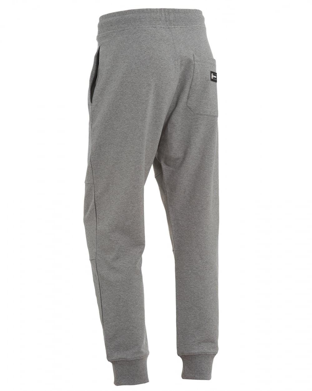 fresh styles really cheap new season Mens Cuff Trackpants, Back Pocket Badge Grey Sweatpants