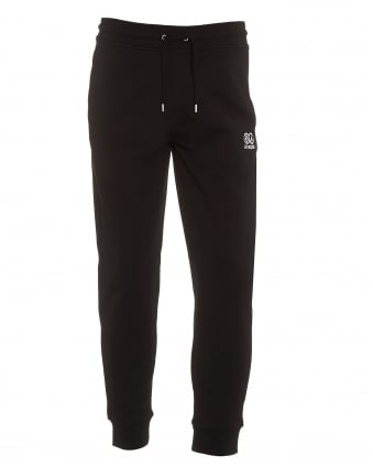 Mens Cuffed Trackpants, Small Logo Black Sweatpants