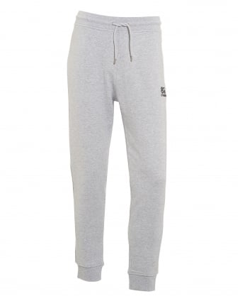 Mens Cuffed Trackpants, Small Logo Grey Sweatpants