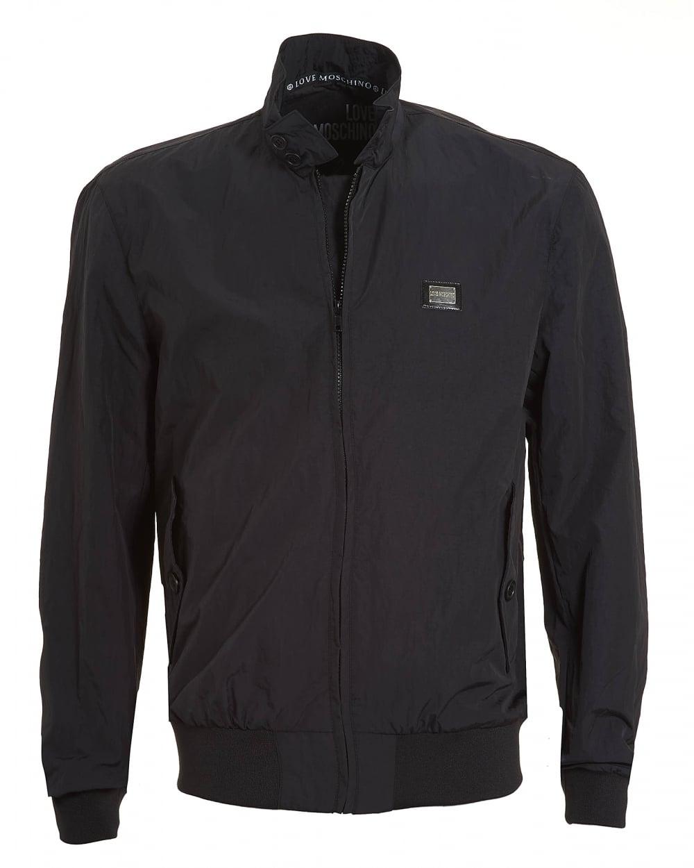 b944df60b56ec Love Moschino Mens Harrington Jacket, Zip Through Black Coat