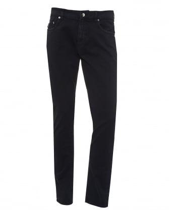 Mens Jeans, Black Brushed Cotton Denim