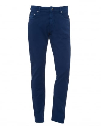 Mens Jeans, Navy Blue Brushed Cotton Denim