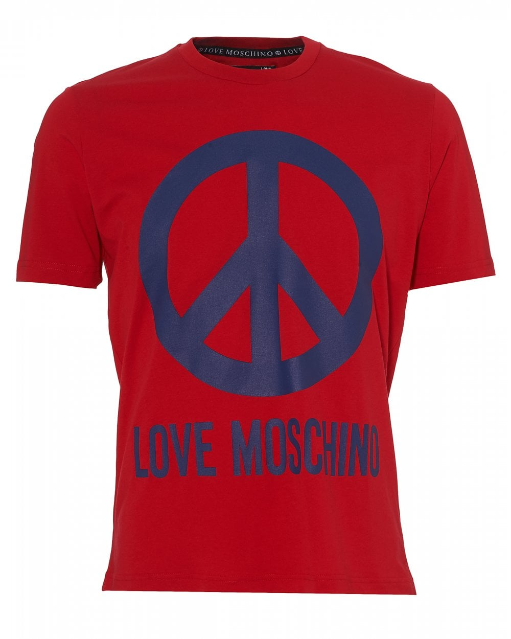 40a7a38f Love Moschino Mens Large Peace Sign T-Shirt, Red Tee