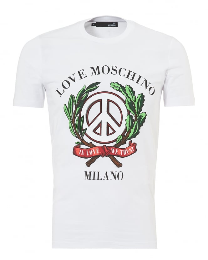 Love Moschino Mens Laurel Wreath Milano T-Shirt, Slim Fit White Tee
