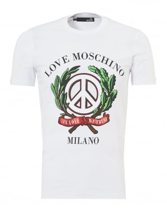 Mens Laurel Wreath Milano T-Shirt, Slim Fit White Tee