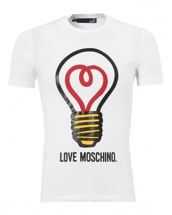 Mens Lightbulb T-Shirt, Slim Fit White Tee